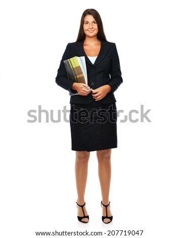 Real estate agent holding her documents and a pen, full length.  Isolated on a white background.   - stock photo