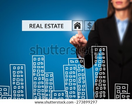 Real estate agent pressing button on virtual screen. Women finger on home icon. Business technology concept. Isolated on blue. Stock Image - stock photo