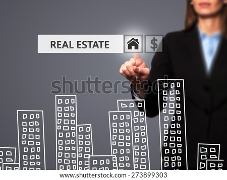 Real estate agent pressing button on virtual screen. Women finger on home icon. Business technology concept. Isolated on grey. Stock Image - stock photo