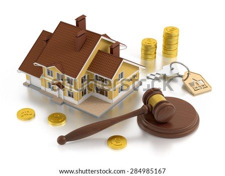 Real Estate Auction. Composition on the subject of Real Estate. 3D rendered graphics. - stock photo