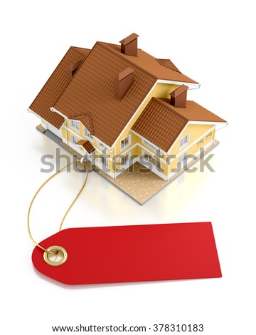 Real Estate Auction. Graphic template on the subject of Real Estate Trading. 3D rendered graphics on white background. - stock photo