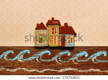 real estate, card. houses on the seashore. - stock photo