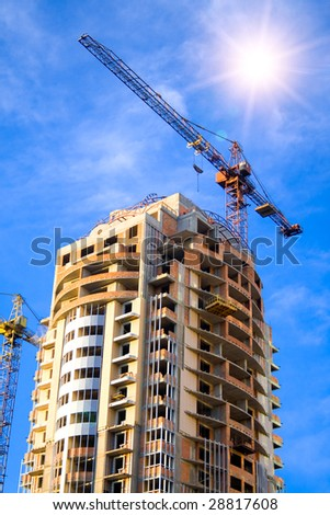 real estate concept. construction of big house - stock photo