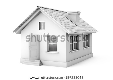 Real Estate Concept. 3d house on a white background - stock photo