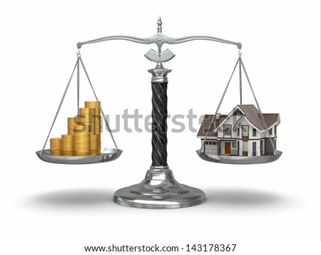 Real estate concept. House and money on scale. 3d - stock photo