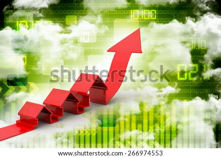 real estate concept house with growing arrow - stock photo