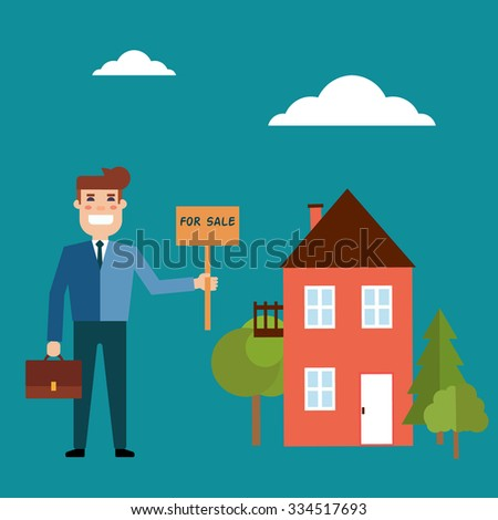 Real estate concept in flat style. Agent for the sale of real estate or a home buyer holding a portfolio and a sign saying the sale of real estate. Supply and demand - stock photo