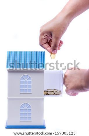 Real estate concept isolated on white background - stock photo