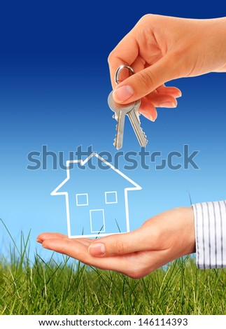 Real estate concept over nature background. - stock photo