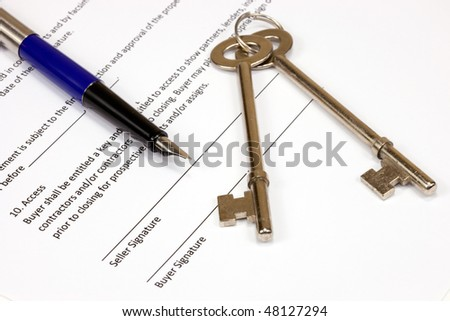 Real Estate Contract With Keys and Fountain Pen - stock photo