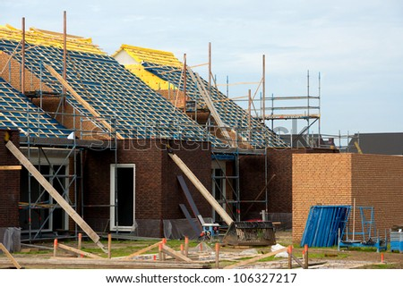 Real estate contruction site in the netherlands - stock photo