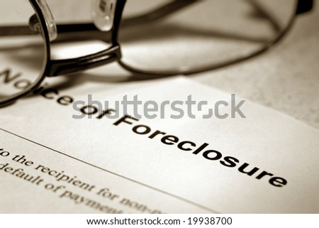 Real estate finance lender home notice of foreclosure with glasses (fictitious document with authentic legal language) - stock photo