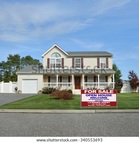 Real estate for sale open house welcome sign Real estate sold (another success let us help you buy sell your next home) sign Beautiful Suburban McMansion Home Landscaped residential neighborhood USA - stock photo