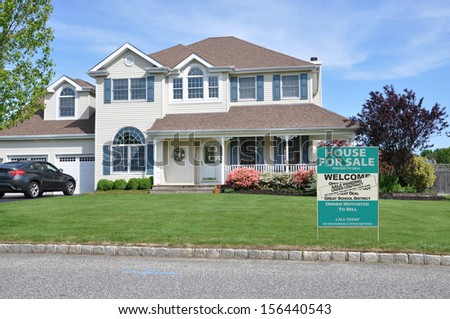 Real Estate For Sale Welcome Open House Sale Pending Under contract sign on suburban McMansion home in residential neighborhood USA - stock photo