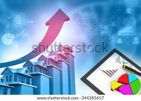 Real estate growth cart - stock photo