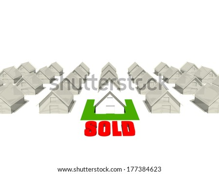 """Real estate homes with a """"Sold"""" sing on one of the houses. - stock photo"""