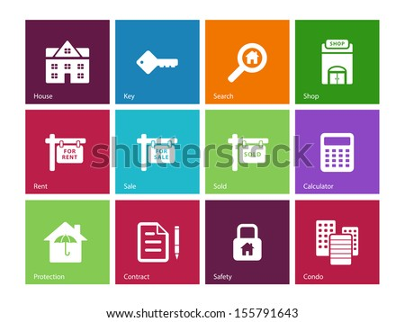 Real Estate icons on color background. See also vector version. - stock photo