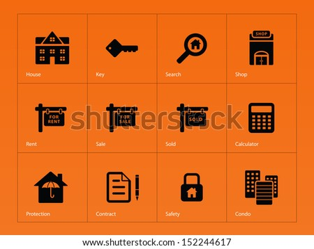 Real Estate icons on orange background. See also vector version. - stock photo