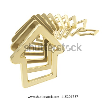 Real estate market collapse: queue line of golden house emblems falling down as domino effect isolated on white background - stock photo