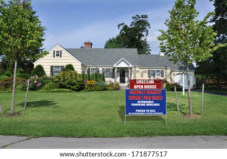Real Estate Open House For Sale Sign suburban home landscaped yard sunny blue sky day residential neighborhood usa - stock photo