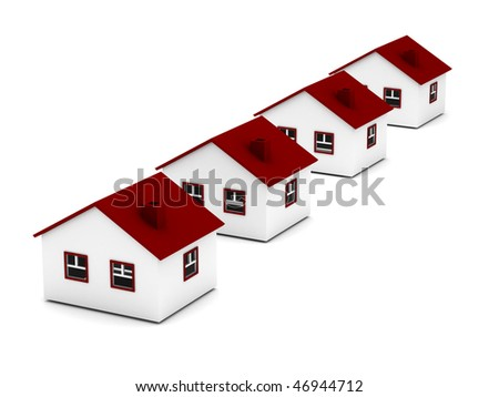 Real estate. Row of houses isolated on white background. High quality 3d render. - stock photo