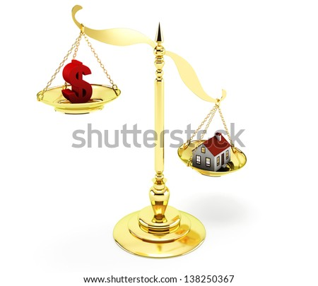 Real Estate Scale on the white background - stock photo