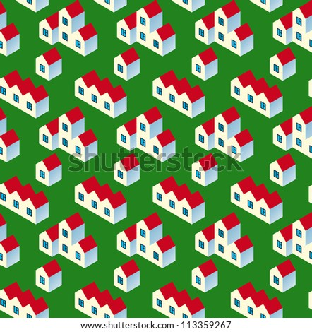 Real Estate Seamless Pattern. White Village Buildings with Red Roof on Green Background. Rasterized Version - stock photo