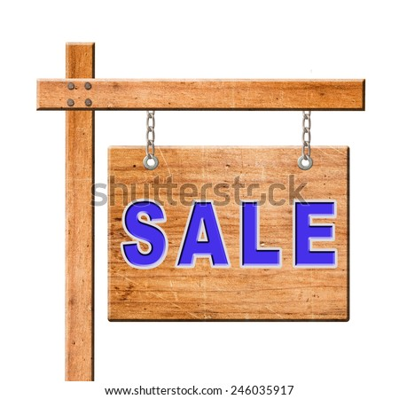 real estate sign isolated on white with clipping path.  - stock photo
