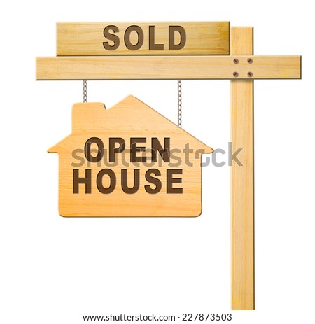 Real estate sign isolated, white background, clipping path. - stock photo