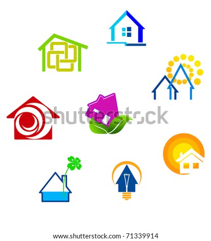 Real estate symbols for design and decorate - also as emblem or sign template. Vector version also available in gallery - stock photo