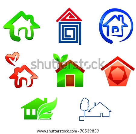 Real estate symbols for design isolated on white - also as emblem or logo template. Vector version also available in gallery - stock photo