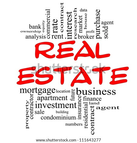 Real Estate Word Cloud Concept in red & black with great terms such as broker, investment, location, market and more. - stock photo