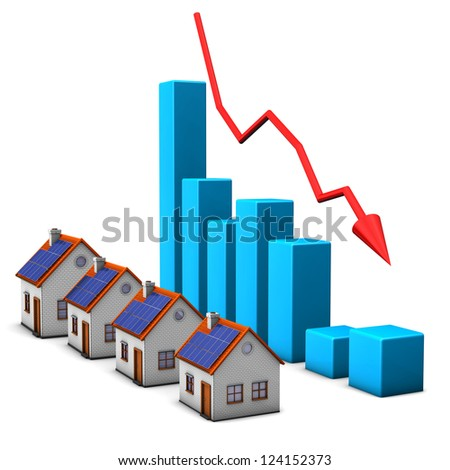 Real estates with declining chart on the white background. - stock photo