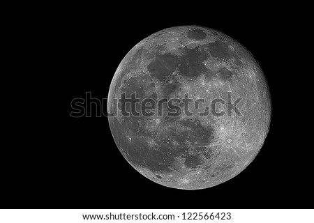 real image of the full moon taken with telescope - stock photo