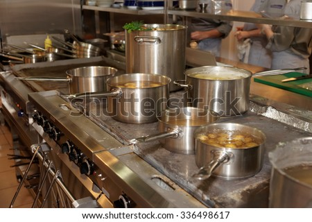 Real kitchen of a restaurant - stock photo