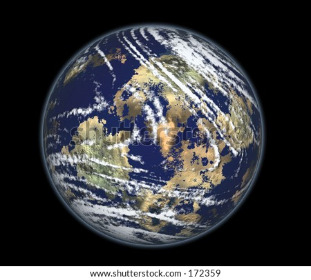 Real looking Earth planet. Computer generated. - stock photo