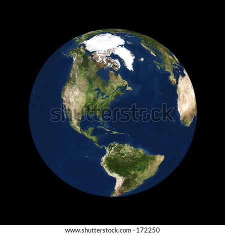 Real looking Earth planet. North America in the center. Globe is accurate and right like in reality. - stock photo
