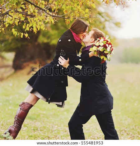 real love, young sweet couple having date - stock photo