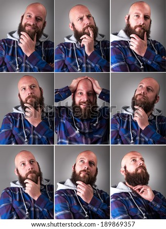 Real Man expression collection - stock photo