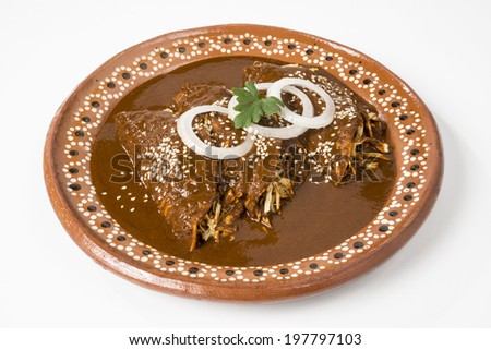 Real Mexican Enchiladas This enchiladas where made by a Mexican chef using exquisite 'mole' sauce from the state of Puebla in Mexico. They are served only with onion rings and sesame seeds  - stock photo