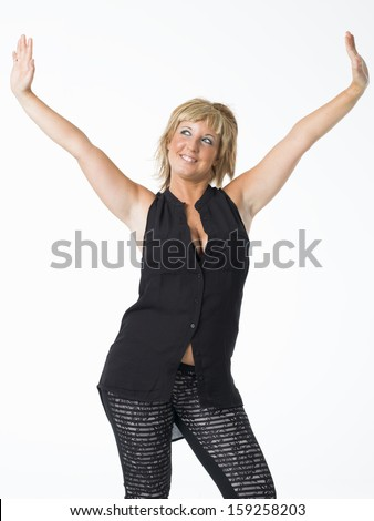 real middle aged woman posing on white background - stock photo