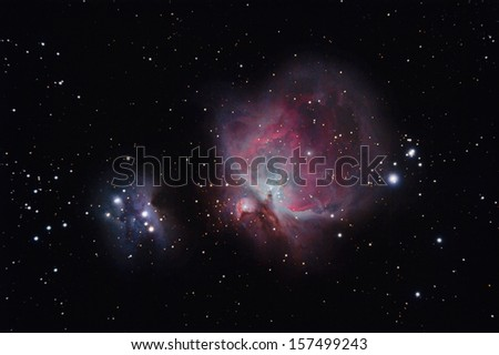 Real Orion Nebula photography taken with telescope - stock photo