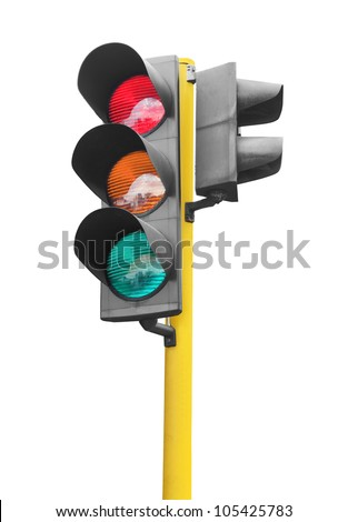 Real photo of traffic light isolated on white background - stock photo