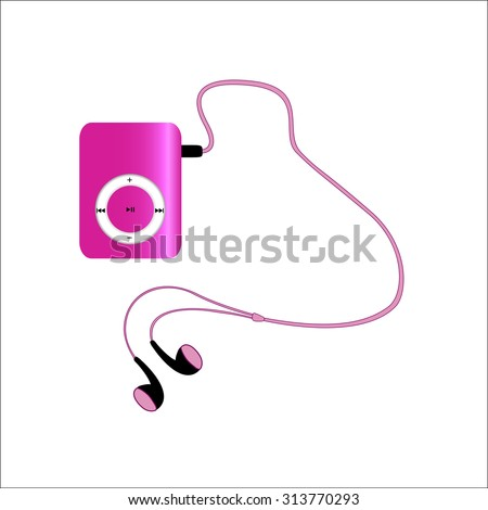 Real pink mp3 player with headphones isolated on white background. illustration - stock photo