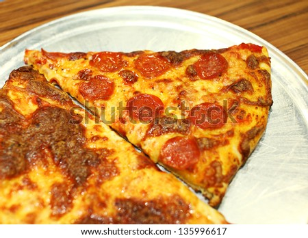 Real pizza from restaurant - stock photo