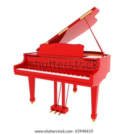 Real red grand piano isolated on white - stock photo