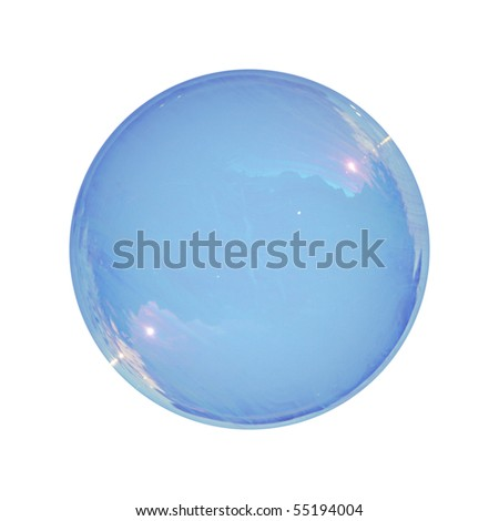 Real soap-bubble isolated on white - stock photo