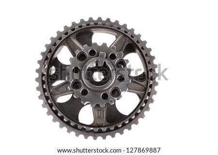 real stainless steel gears isolated over white background - stock photo
