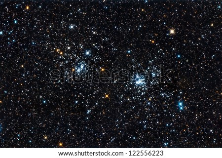 Real starfield with the double star cluster in Perseus captured with an amateur telescope - stock photo