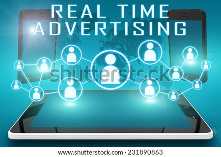 Real Time Advertising - text illustration with social icons and tablet computer and mobile cellphones on cyan digital world map background - stock photo